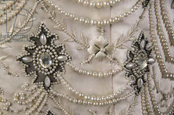 Wedding dress bodice, 1896 (detail view)