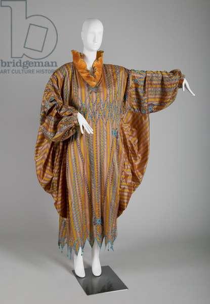 Evening dress, c.1985 (front view of dress, one arm extended), Silk taffeta, bead, silk thread, Zandra Rhodes, England
