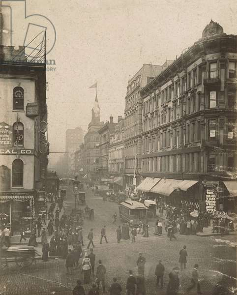 View of Madison Street looking west from State Street, Chicago, 1889 (b/w photo)