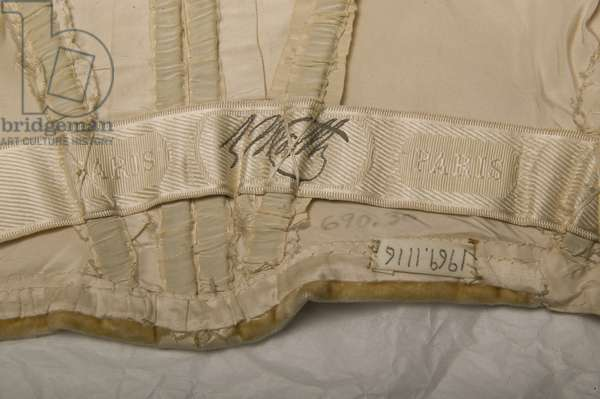 House of Worth maker label from inside evening gown belonging to Bertha Palmer, 1900, Worth, Paris