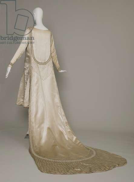 Lesbos wedding dress, 1925 (back oblique view), Silk satin, pearls, glass beads, metallic thread, Jeanne Lanvin, Paris