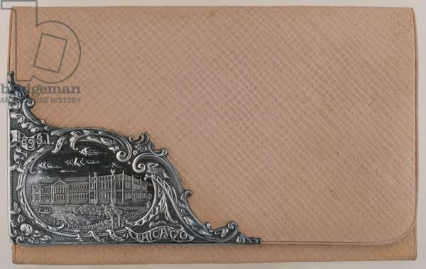 Bertha Palmer's calling card wallet, 1893, Leather, sterling silver, No label