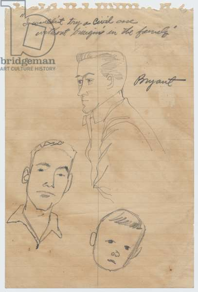 Sketches of Roy Bryant and Others, 1955 (pencil on paper)