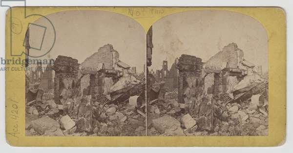 Stereograph view of Terrace Block on Michigan Avenue after the Chicago Fire of 1871 (b/w photo)