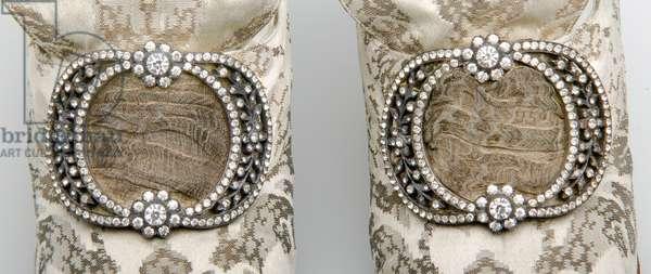 Bertha Palmer's shoes, c.1910 (close-up detail), Silk satin with metallic thread brocade, rhinestone and metallic thread buckle, F, Pinet, Paris