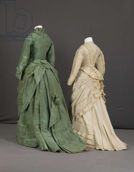 Trousseau dress, 1875 (silk moiré, maker unknown) and trousseau dress, 1880 (cotton twill, silk taffeta, no label), Back view