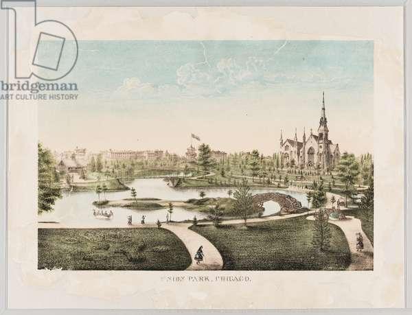 View of Union Park, Chicago, Illinois, USA (colour litho)