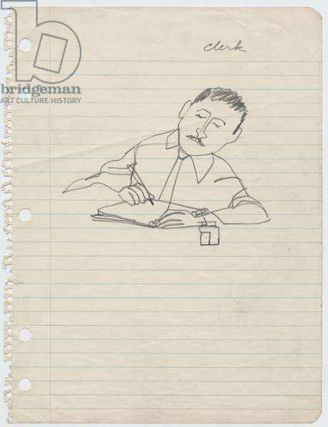 Courtroom Clerk, 1955 (pencil on paper)