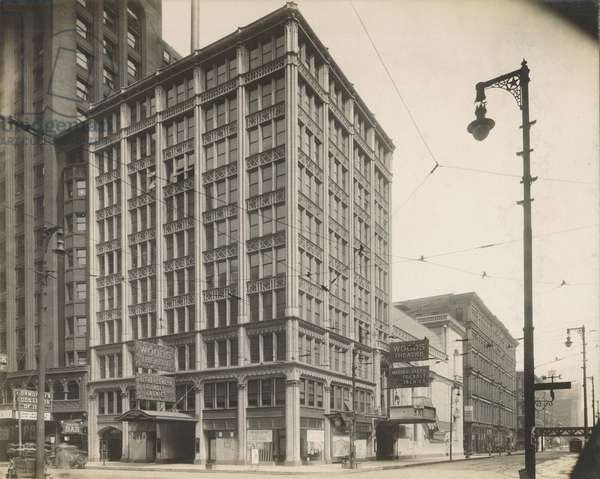 View of Woods Theatre at 54 W. Randolph St., Chicago, c.1900 (b/w photo)