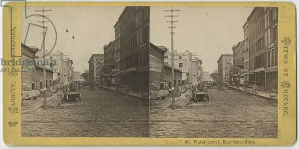Stereograph of view of Water Street looking East from State Street, Chicago, c.1870 (b/w photo)