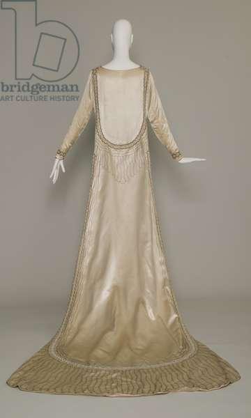 Lesbos wedding dress, 1925 (back view), Silk satin, pearls, glass beads, metallic thread, Jeanne Lanvin, Paris