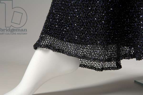 "Evening dress, 1931 (front detail view of hem), Gabrielle ""Coco"" Chanel, France Crocheted silk, sequins"