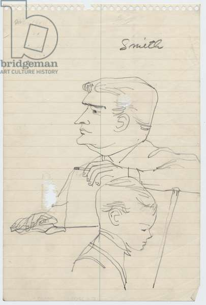 Robert Smith III and the prosecutor, 1955 (pencil on paper)