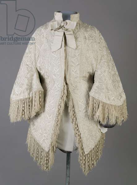 Bertha Palmer's coat, c.1870 (front view), Ribbed silk moiré, fringe, and crystal beads