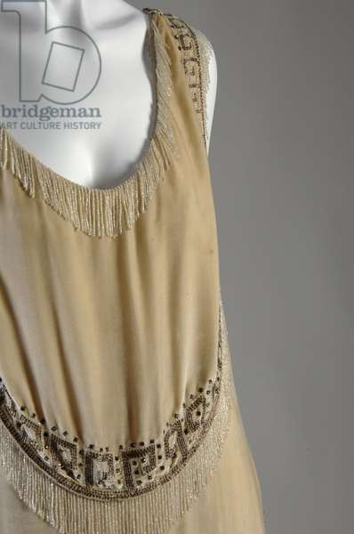 "Evening gown, 1926 (front oblique partial view), Gabrielle ""Coco"" Chanel, France Silk velvet, rhinestone, glass bead"