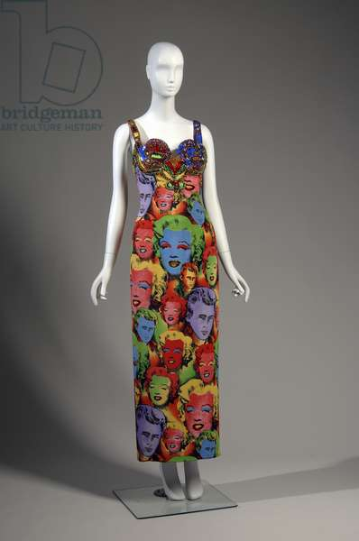 Evening dress, 1991 (front view), Gianni Versace, Italy Printed silk jersey, beads, rhinestones.