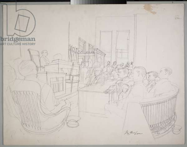 Courtroom, 1955 (pencil on paper)