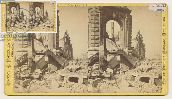 Stereograph of the Bryan Block at the northwest corner of Monroe and LaSalle Streets after the Chicago Fire of 1871, 1871 (b/w photo on card mount)