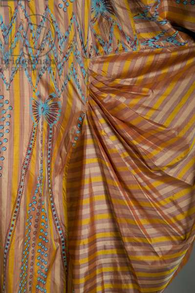 Evening dress, c.1985 (close-up view of fabric draping), Silk taffeta, bead, silk thread, Zandra Rhodes, England