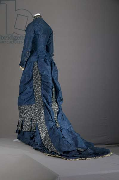 Bridesmaid dress, 1879 (back oblique view), Silk taffeta, brocade, lace, Maker unknown