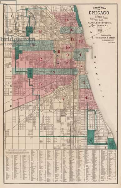 Ward map for the city of Chicago, Illinois, 1882