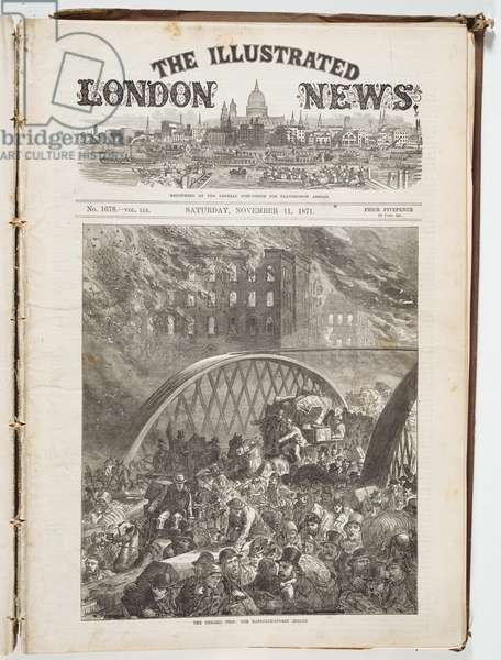Front page of the Illustrated London News with people on the Randolph Street bridge during the Chicago Fire of 1871, 1871 (litho)