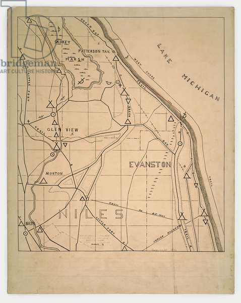 Map of American Indian trails and villages near Niles and Evanston, Illinois