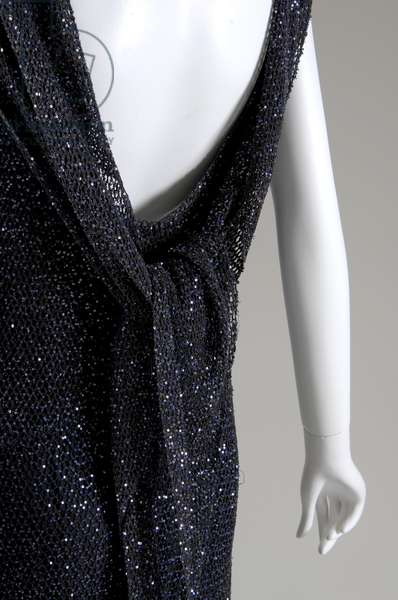 """Evening dress, 1931 (back oblique partial view), Gabrielle """"Coco"""" Chanel, France Crocheted silk, sequins"""