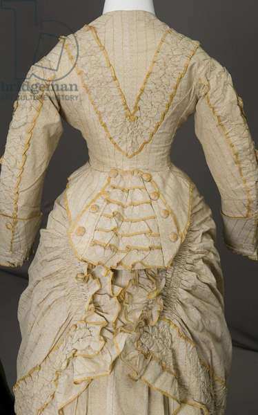 Trousseau dress, 1880 (partial view of back), Cotton twill, silk taffeta, No label