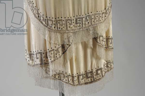 "Evening gown, 1926 (detail view of hem), Gabrielle ""Coco"" Chanel, France Silk velvet, rhinestone, glass bead"