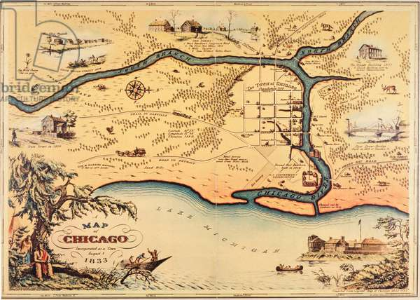 Map of Chicago Incorporated as a Town, August 5, 1833