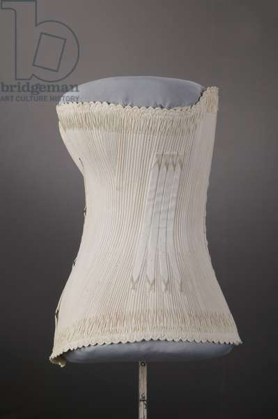 Wedding corset, 1887, Cotton twill, silk thread embroidery, Maker unknown