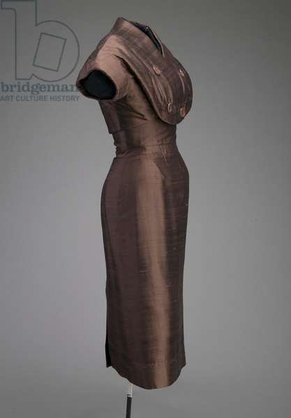 Afternoon dress and jacket, 1955 (side oblique view), Silk shantung, plastic, Christian Dior