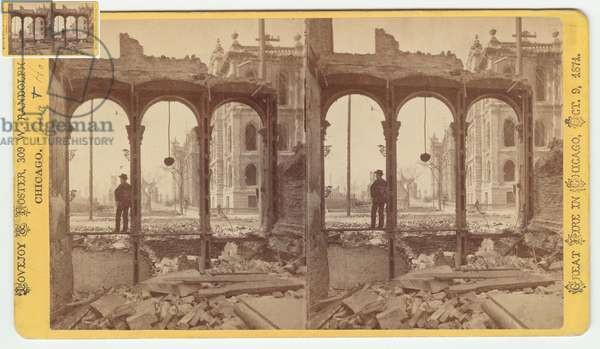 Stereograph of the courthouse as seen through the ruins of the east side of Clark Street after the Chicago Fire of 1871, 1871 (b/w photo on card mount)