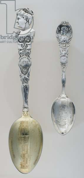 World's Columbian Exposition souvenir spoons (including one with image of Bertha Palmer), 1893, Silver, No label