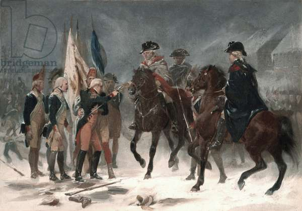 Surrender of Colonel Rall at the Battle of Trenton, December 26th, 1776, 1858 (oil on cardboard)
