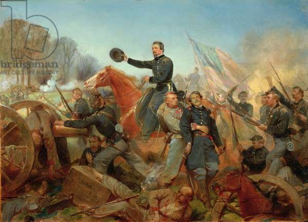 Battle of the Wilderness, Attack at Spotsylvania Court House, Virginia, 1865 (oil on canvas)