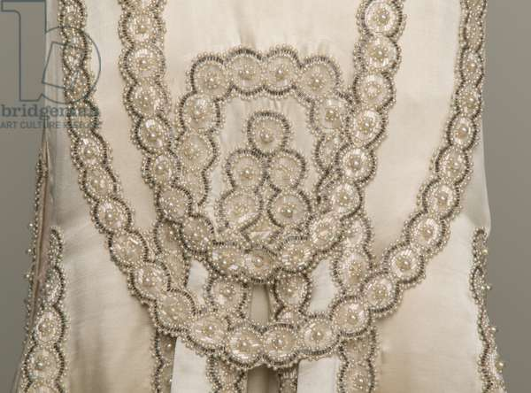 lesbos wedding dress, 1925 (front detail view), Silk satin, pearls, glass beads, metallic thread, Jeanne Lanvin, Paris