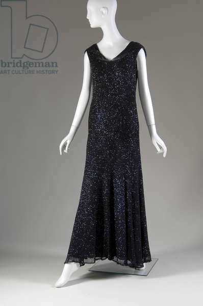 """Evening dress, 1931 (front oblique view), Gabrielle """"Coco"""" Chanel, France Crocheted silk, sequins"""