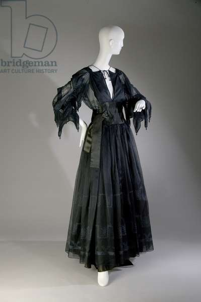 Evening dress, c.1979 (front oblique view), Silk organza, satin and cord, Zandra Rhodes, England