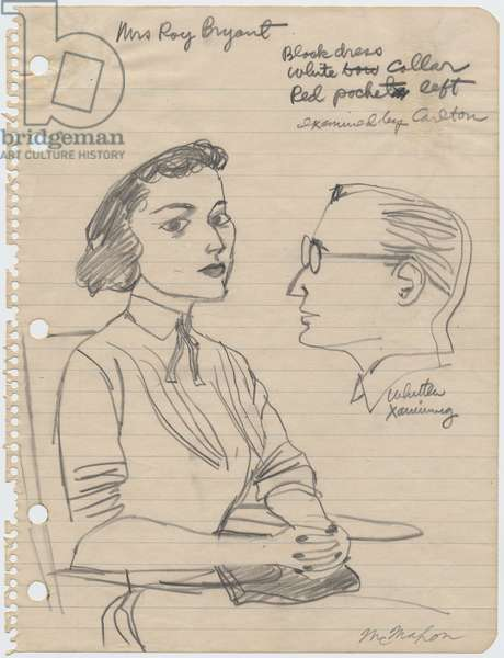 Mrs. Roy Bryant examined by Caleb Sidney Carlton, 1955 (pencil on paper)