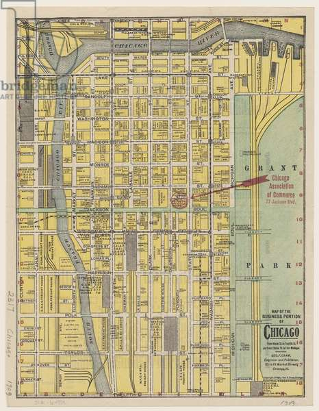 Map of the Business Portion of Chicago, 1909 (colour litho)