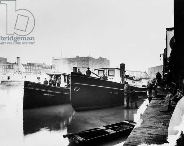 Chicago and Illinois fireboats, Chicago, Illinois, USA, c.1905 (b/w photo)