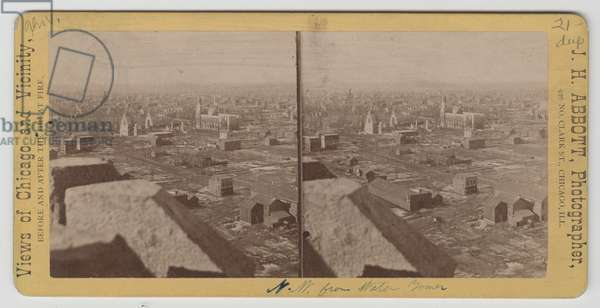 Stereograph of view northwest from Water Tower after the Chicago Fire of 1871 (b/w photo)