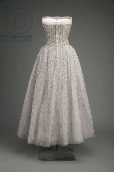 Evening dress, 1953 (back view), Silk tulle, silver sequins, rhinestones, Christian Dior, Paris Christian Dior, Paris