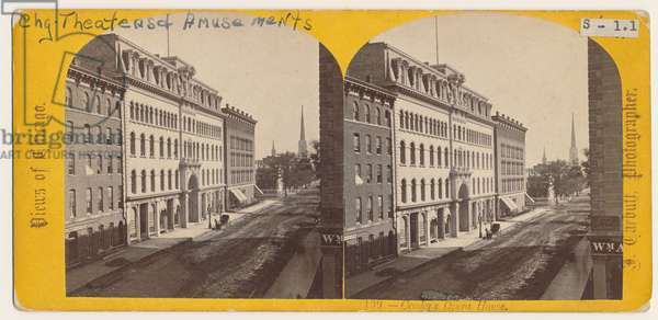 View of Crosby's Opera House before the Chicago Fire of 1871 (b/w photo)
