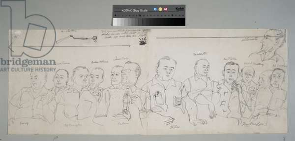 12 Jurors and an Alternate, 1955 (pencil on paper)