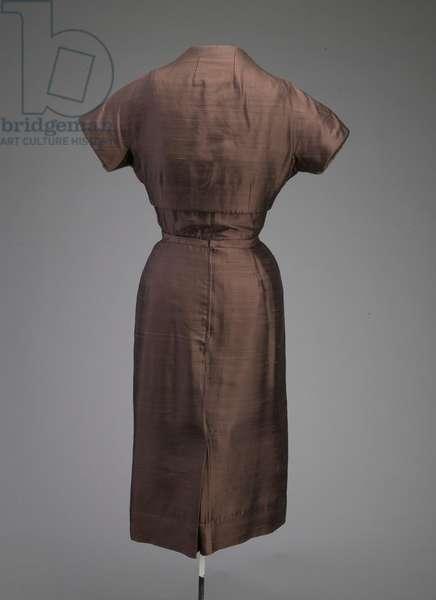 Afternoon dress and jacket, 1955 (back view), Silk shantung, plastic, Christian Dior