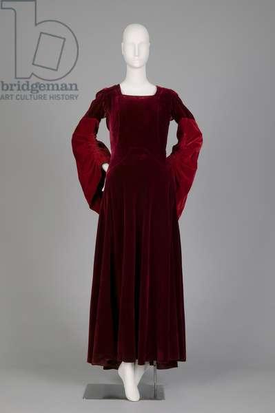 Mother-of-bride gown, 1932 (front view), Silk velvet, Mirande, Paris