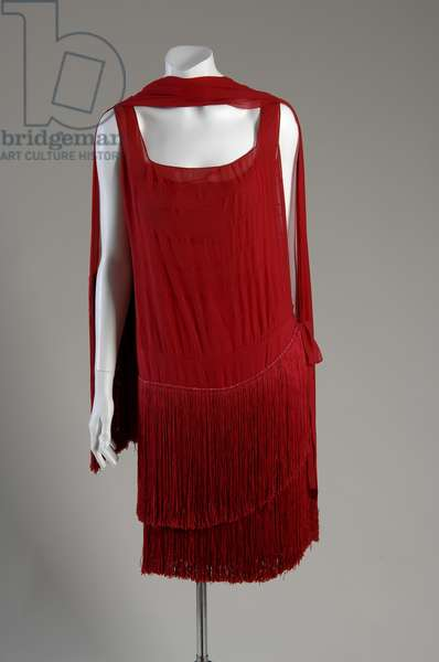 "Evening dress and shawl, c.1925 (front view), Gabrielle ""Coco"" Chanel, France Silk chiffon with silk fringe."